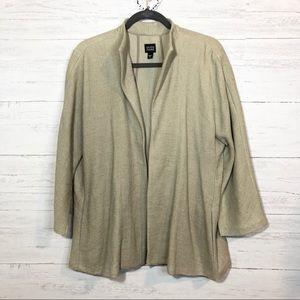 Eileen Fisher beige linen blend swing jacket